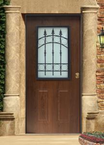 Usa cu geam si grilaj din fier forjatcu panou exterior din PVC model 2